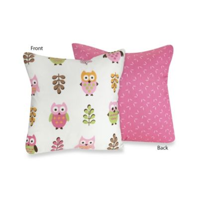 Sweet Jojo Designs Happy Owl Reversible Throw Pillow in Pink