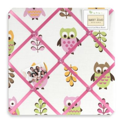 Sweet Jojo Designs Happy Owl Fabric Memo Board in Pink