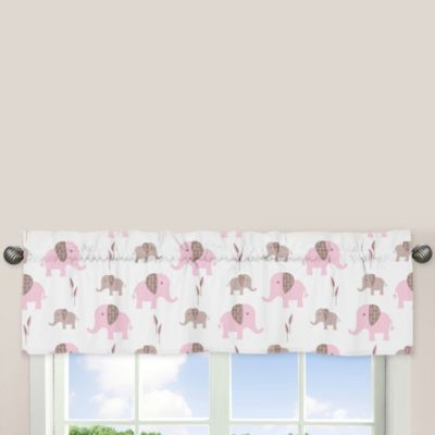 Sweet Jojo Designs Mod Elephant Window Valance in Pink/Taupe