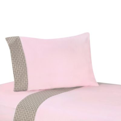 Sweet Jojo Designs Mod Elephant 3-Piece Twin Sheet Set in Pink/Taupe