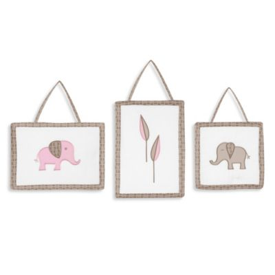 Sweet Jojo Designs Mod Elephant 3-Piece Wall Hangings Pink/Taupe