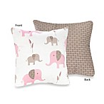 Sweet Jojo Designs Mod Elephant Decorative Toss Pillow in Pink/Taupe
