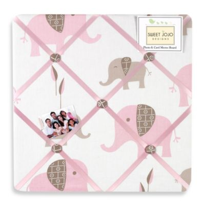 Sweet Jojo Designs Mod Elephant Fabric Memo Board in Pink/Taupe