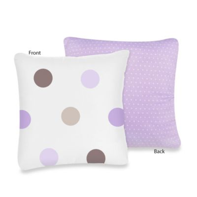 Sweet Jojo Designs Mod Dots Reversible Throw Pillow in Purple/Chocolate