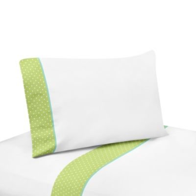 Sweet Jojo Designs Hooty Twin Sheet Set in Turquoise and Lime