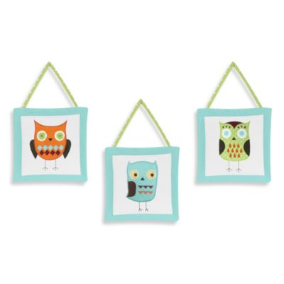Sweet Jojo Designs Hooty 3-Piece Wall Hanging Set in Turquoise/Lime