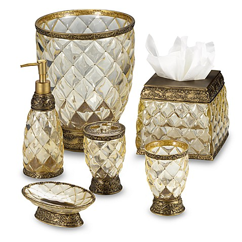 Buy crystal bell gold wastebasket from bed bath beyond for Gold bathroom wastebasket