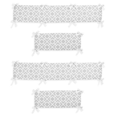 Sweet Jojo Designs Diamond Crib 4-Piece Bumper Set in Grey/White