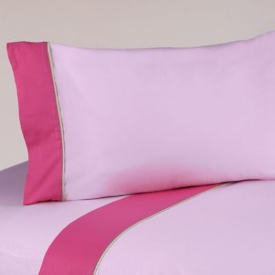 Sweet Jojo Designs Flower Twin Sheet Set in Pink/Green