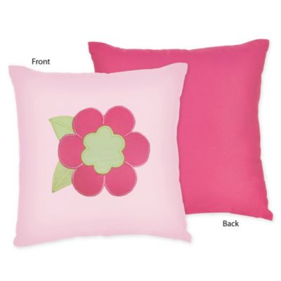 Sweet Jojo Designs Flower Decorative Throw Pillow in Pink/Green