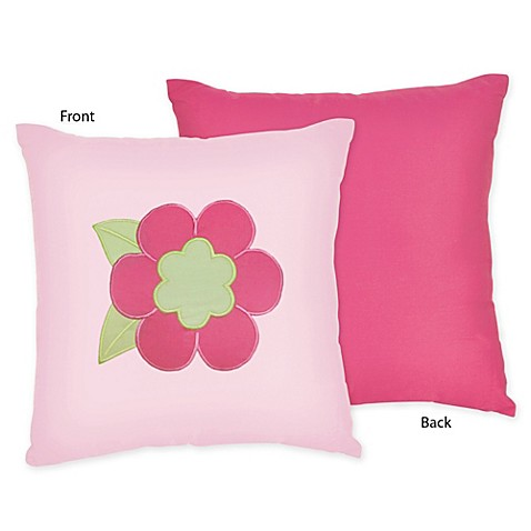 Decorative Throw Pillows Pink : Sweet Jojo Designs Flower Decorative Throw Pillow in Pink/Green - www.BedBathandBeyond.com