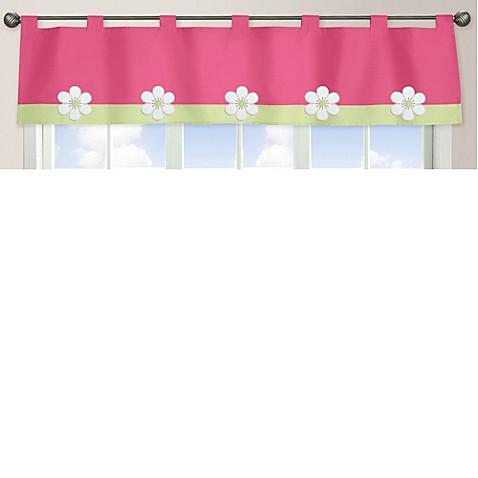 Sweet jojo designs flower window valance in pink green for Sweet jojo designs bathroom
