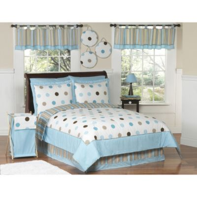 Sweet Jojo Designs Mod Dots Blue and Chocolate 4-Piece Twin Bedding Set