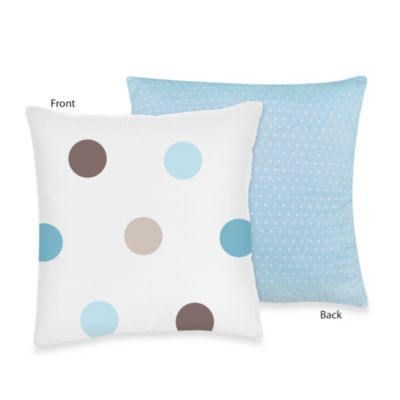 Sweet Jojo Designs Mod Dots Decorative Throw Pillow in Blue/Chocolate