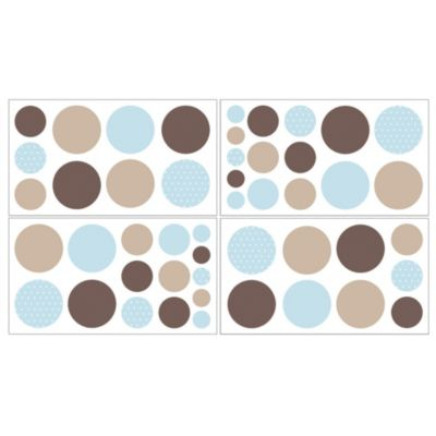 Sweet Jojo Designs Mod Dots Wall Decals in Blue/Chocolate