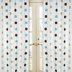 Sweet Jojo Designs Mod Dots Window Panel Pair in Blue/Chocolate