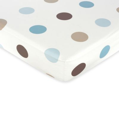 Sweet Jojo Designs Mod Dots Fitted Large Dot Crib Sheet in Blue/Chocolate