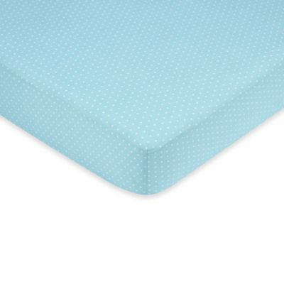 Sweet Jojo Designs Mod Dots Fitted Mini Dot Crib Sheet in Blue/Chocolate