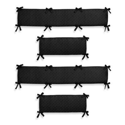 Sweet Jojo Designs Minky Dot 4-Piece Crib Bumper Set in Black