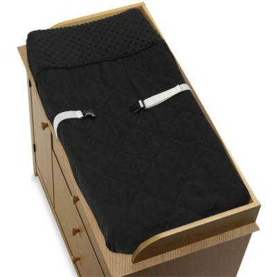 Sweet Jojo Designs Minky Dot Changing Pad Cover in Black