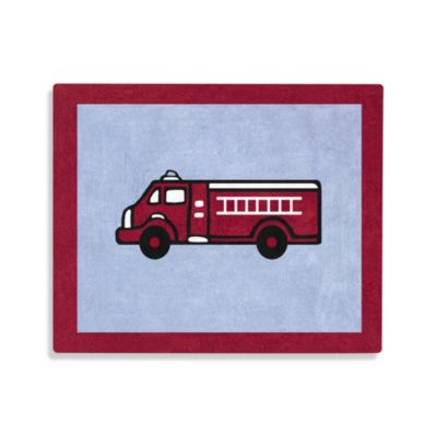 Sweet Jojo Designs Frankie's Fire Truck 36-Inch x 30-Inch Accent Rug