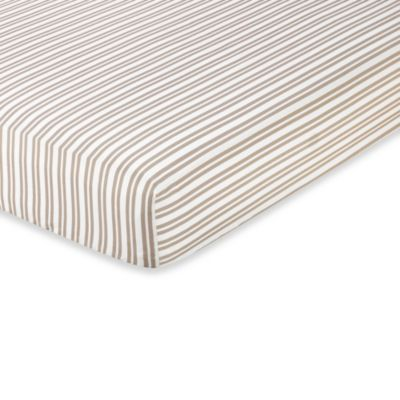 Sweet Jojo Designs Giraffe Fitted Crib Sheet in Taupe/White Stripe