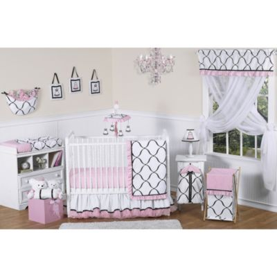 Sweet Jojo Designs Princess 11-Piece Crib Bedding Set in Black/White/Pink