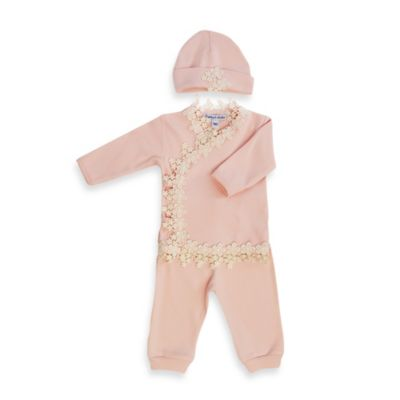 Sippy's Babes 3-Piece Take Me Home Set in Pink with Cream Lace