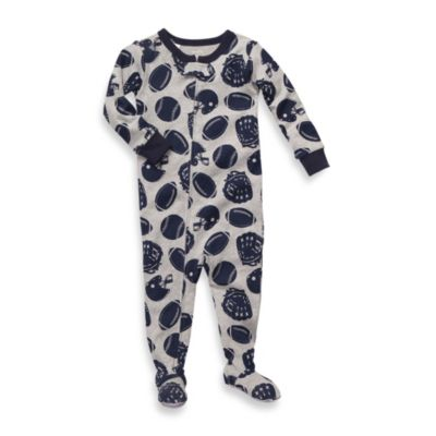 Carter's® Size Sleeper Footed PJs in Grey Football Print