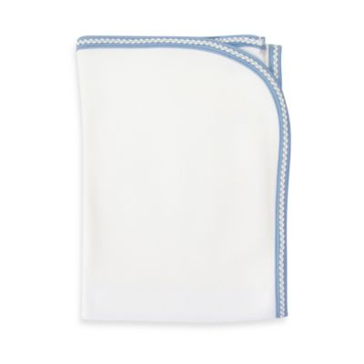 Sippy's Babes Blanket in White/Blue with Blue Chevron Trim