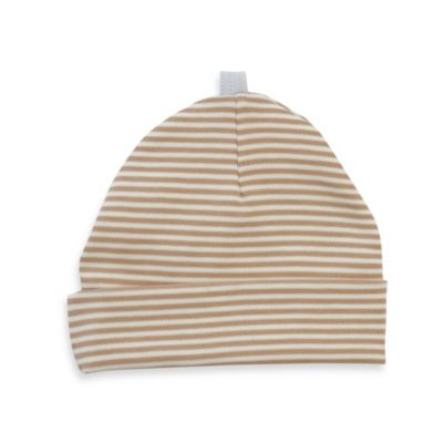 Sippy's Babes Size 0-6M Hat in Cream with Tan Stripe and Blue Loop