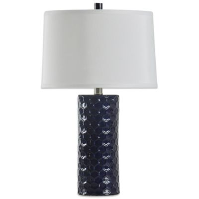 Brushed Steel Blue Table Lamp