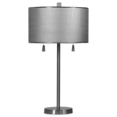 Brushed Steel Circles 2-Light Table Lamp