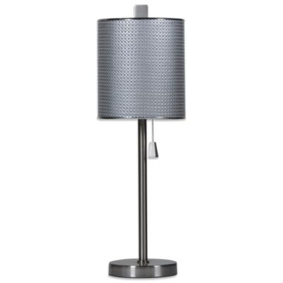 Brushed Steel Circles 1-Light Table Lamp