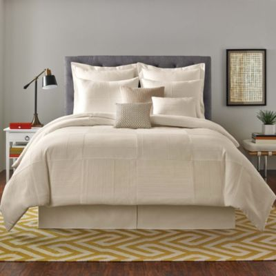 Real Simple® Linear Patchwork King Comforter Set in Stone