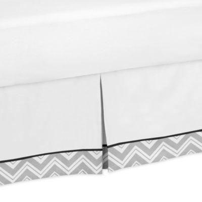 Sweet Jojo Designs Zig Zag Toddler Bed Skirt in Grey/Black