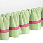 Sweet Jojo Designs Flower Queen Bed Skirt in Pink/Green