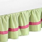 Sweet Jojo Designs Pink and Green Flower Toddler Bed Skirt