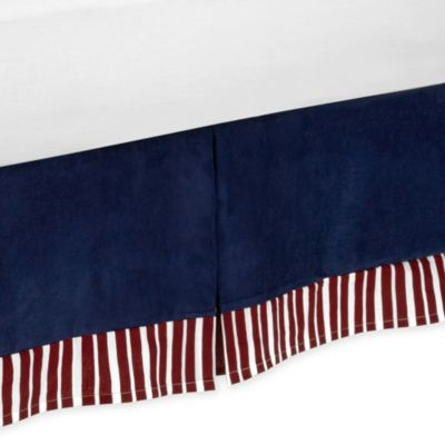 White Bed Skirt with Navy Stripe