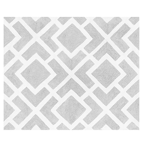 Sweet Jojo Designs Diamond Floor Rug in Grey/White
