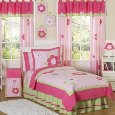 Sweet Jojo Designs Flower 3-Piece Full/Queen Bedding Set in Pink/Green