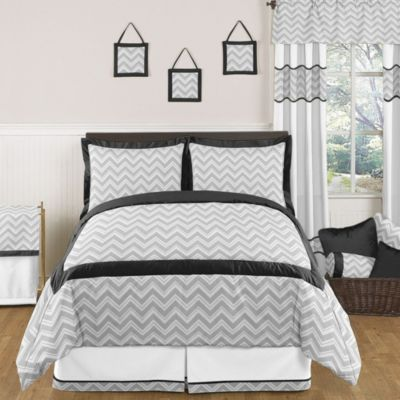 Sweet Jojo Designs Zig Zag Twin 4-Piece Comforter Set in Grey/Black