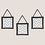 Sweet Jojo Designs Zig Zag 3-Piece Wall Hanging Set in Grey/Black