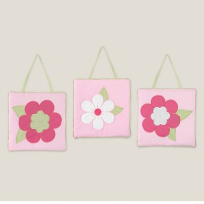 Sweet Jojo Designs Flower 3-Piece Wall Hanging Set in Pink/Green