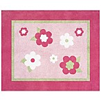 Sweet Jojo Designs Pink and Green Flower 36-Inch x 30-Inch Accent Rug