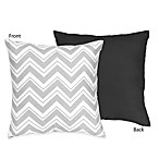 Sweet Jojo Designs Zig Zag Reversible Decorative Pillow in Grey/Black