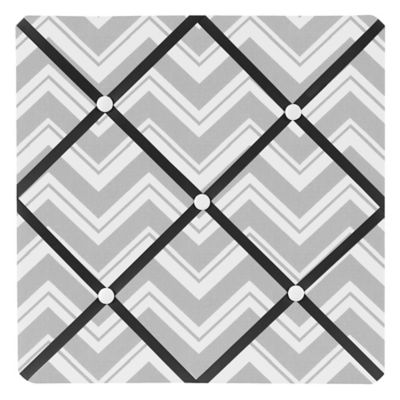 Sweet Jojo Designs Zig Zag Fabric Memo Board in Grey/Black