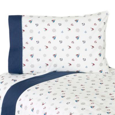 Sweet Jojo Designs Nautical Nights 3-Piece Twin Sheet Set
