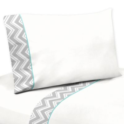 Sweet Jojo Designs Zig Zag Twin Sheet Set in Turquoise/Grey