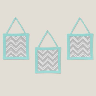 Sweet Jojo Designs Zig Zag 3-Piece Wall Hanging Set in Turquoise/Grey